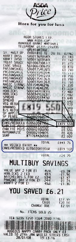 The receipt with the cost highlighted