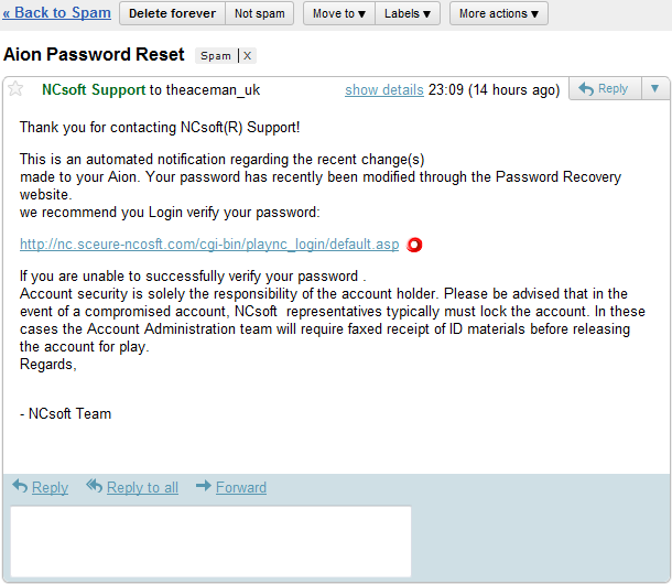 Aion Password Reset