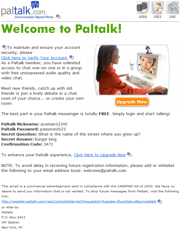 Paltalk Spam